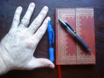 Paperblanks Mini notebook, with Pilot G-2 mini and Papermate Profile mini pens.