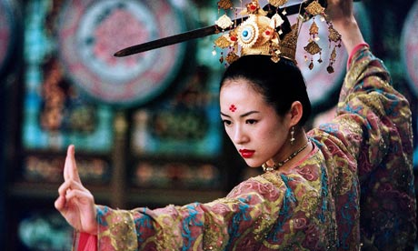 Ziyi Zhang as Xiao Mei in HOUSE OF FLYING DAGGERS, Yimou's second kung fu masterpiece.