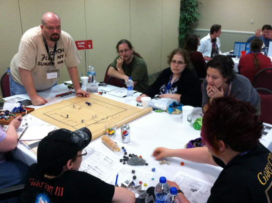 George Fields guides beginner HackMaster players through the Lost Temple of the Valiant