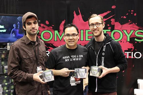 Shawn Recinto (center) and crew with Boxes O Zombies