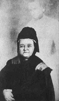 Mary Todd Lincoln and the spirit of her dead husband (photograph by Mumler)