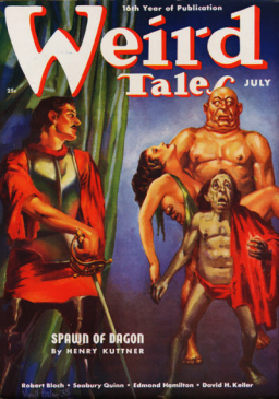 "Weird Tales, July 1938, featuring Elak of Atlantis in ""Spawn of Dagon"""