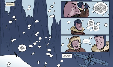 A double-page spread from At the Mountains of Madness. Not how the panels at right float above the background.
