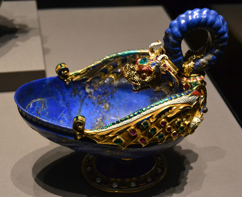 "The ""Dragon Bowl"" made by Gasparo Miseroni, Milan, c 1565/70. Lapis lazuli, gold, enamel, rubies, emeralds, pearls, and garnets."