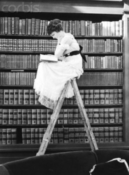 Woman Reading on Top of Ladder