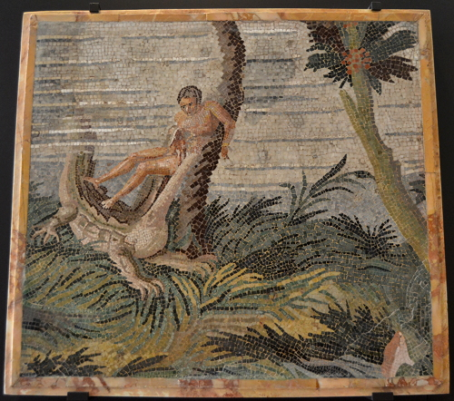 Late 2nd century AD, Italy. Images of Egypt were hugely popular in the Roman Empire. This shows an unfortunate fellow getting chomped by a crocodile in the Nile.