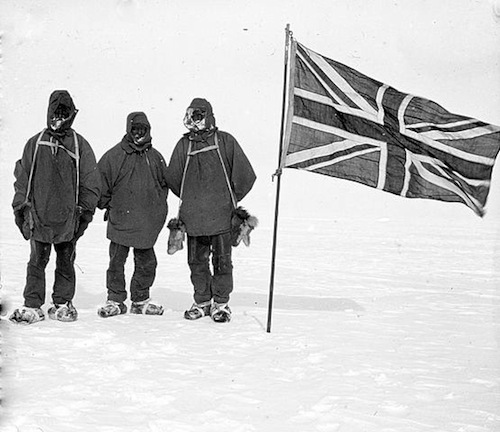 The furthest south of the Nimrod expedition, 9 January 1909. From left to right: Jameson Boyd Adams, Frank Wild, and Ernest Shackleton pose for a self portrait at 88°23'S, only 97 geographical miles (178 km) from the South Pole.