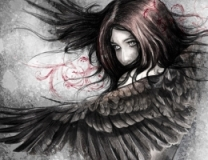 Illustration sketch of  woman with eagle wings, made with digital tablet
