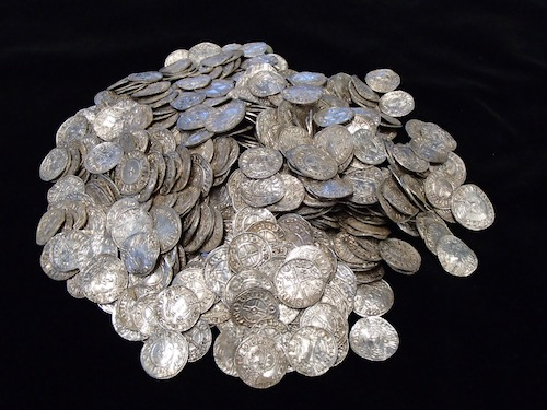 A pile of 697 of the Lenborough hoard coins after cleaning. © The Trustees of the British Museum.