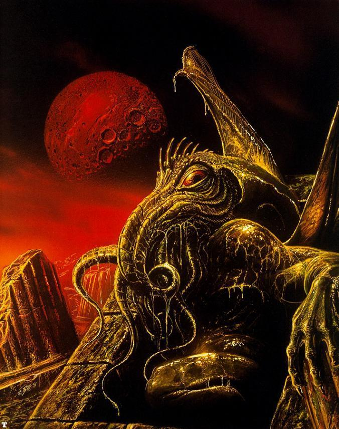 "Bob Eggleton's ""Cthulhu Awakens""--my personal favorite painting of ol' Squid-Head. See more of Bob's work at www.bobeggleton.com"