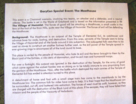 Text for the Chainmail re-enactment at The Moathouse