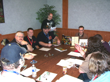 A marathon Hackmaster session at the KenzerCo table. Die Troglodytes!!