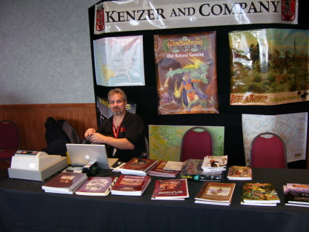 Jolly Blackburn mans the Kenzer & Company booth