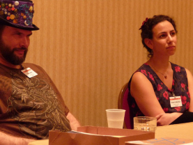Editors Mike Allen (Mythic Delirium) and Amal El-Mohtar (Goblin Fruit) at Readercon 2010