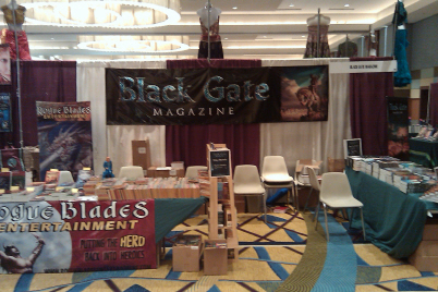 The beautiful Black Gate/Rogue Blades booth, with new BG banners by John Woolley