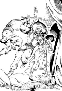 "Howard's ""Sight of Vengeance,"" featuring Dabir and Asim. Art by Storn Cook"