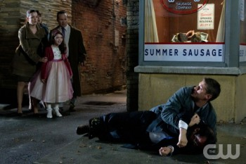 Dean Winchester detains a suspected fairy.