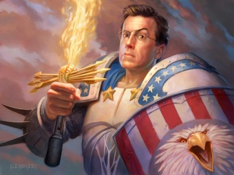 Colbert says Americans don't believe digital art is real even if Todd Lockwood paints him in full digital!