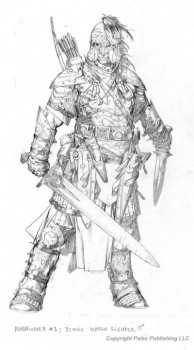 Valeros rough, and notice the lack of a tankard, something I feel kind of made the picture.
