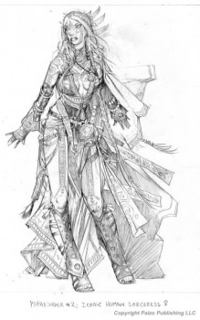 Seoni the Sorceress rough carries a cloak before the final Wayne Reynolds changes.