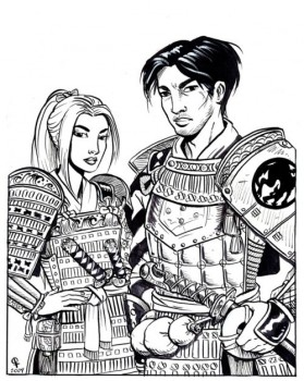 I loved L5R and Chris Dornaus so much, I commissioned her to do line art for two of my characters in 1st Edition glory.