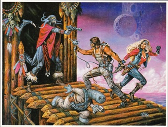 Clyde Caldwell gets into the action with this 'babes and barbarians' take on Frontiers