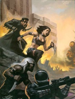 D20 Modern shows the battle on every panel, but is there a story?