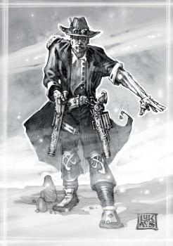 Alec Fleetwood: D20 Iron Kingdoms Fighter/Pistoleer, Level 5/10, Art by Chuck Lukacs