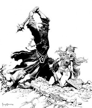 Frazetta really doesn't do male armor for his Eowyn... but hey, its Frazetta!
