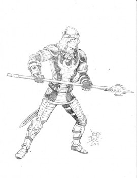 Tyr 'Fleet of the Wood': AD&D 1E Fighter, Level 5, Art by Jeff Dee