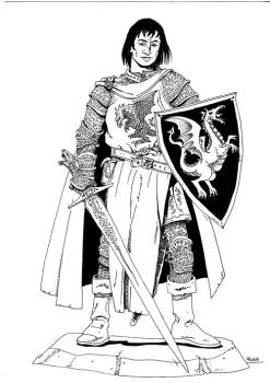 Corvis Fleetwood: Pathfinder Cavalier, Level 17, Art by Russ Nicholson