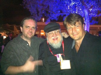 Ty Franck with George RR Martin and Nathan Fillion