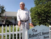 Glenn Lord in front of the Robert E. Howard house in Cross Plains, Texas