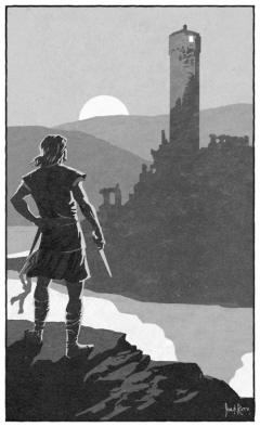 """Art for Jamie McEwan's """"An Uprising of One,"""" by Jim and Ruth Keegan (from Black Gate 15)."""