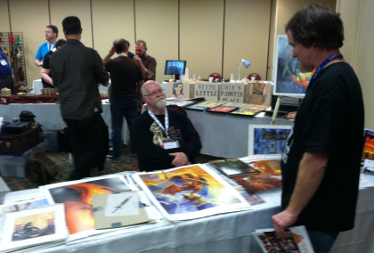 Jeff Easley displays his wares for an appreciative audience. Click for bigger version.
