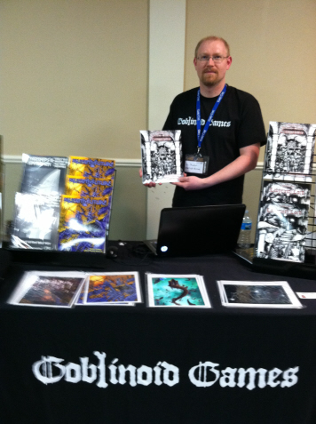Daniel Proctor displays his creation Labyrinth Lord at the Goblinoid Games booth