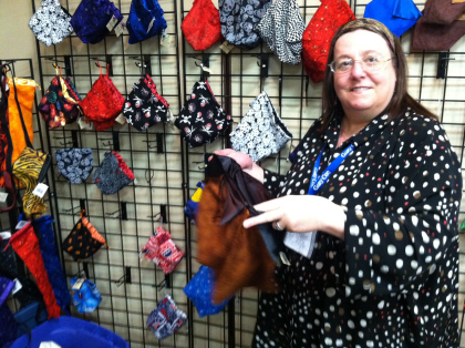 """Kelsey """"Rose"""" Jones shows off the best dice bags in the industry. Seriously. Click for bigger image."""
