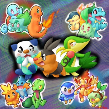 The various starter Pokemon from each animated series with Black and White at center.