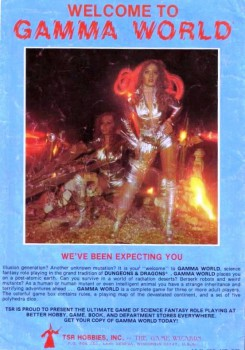 Little did I know at the time how sexy Elise Gygax, Gary's daughter, was as she posed for this 1979 Gamma World advertisement