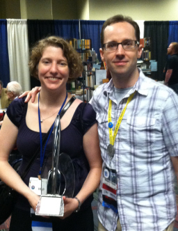 Lynne and Michael Thomas with the 2012 Hugo Award for  SF Squeecast.