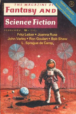 "The Magazine of Fantasy and Science Fiction, February 1977, containing John Varley's ""In the Hall of the Martian Kings."" Cover by Rick Sternbach"