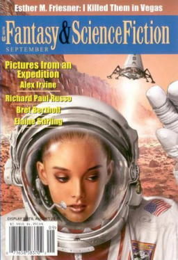 "The Magazine of Fantasy & Science Fiction, September 2003, with ""Pictures from an Expedition"" by Alex Irvine. Cover by Maurizio Manzieri"