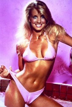 What is being sold here?  Certainly Heather Thomas must understand why this image went up on countless boys walls across the U.S.