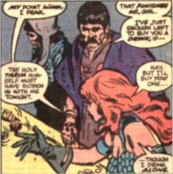 Red Sonja buys Sonny Bono a drink.