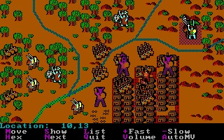 A battle in Sword of Aragon, in all its glory. The purple blobs are titans.