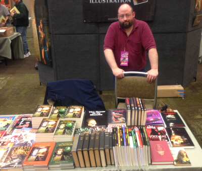 William Patrick Maynard and his impressive table at Windy City Pulp