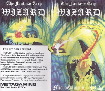 Front and back covers for Steve Jackson's Wizard (1978). Click for bigger version