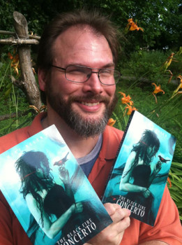 Mike Allen and his ghoulishly gruesome novel. Cover art by Lauren K. Cannon