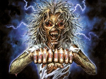 Iron Maiden's Eddie the 'Ead offers to fistbump his fans.
