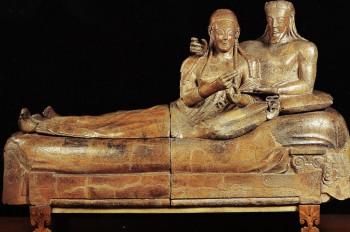 An Etruscan sarcophagus.